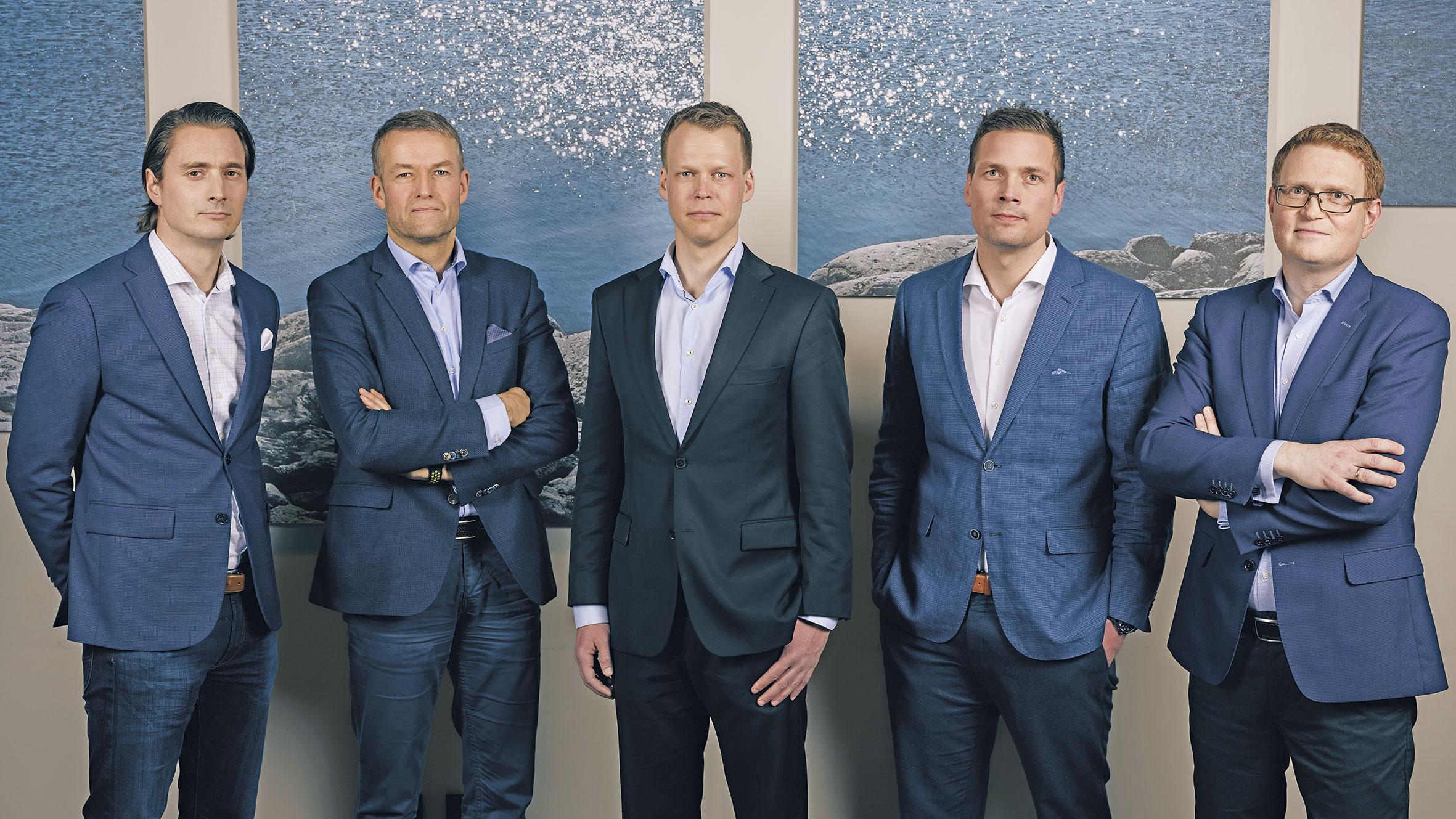 Investeringsteamet i Broodstock Capital. Fra venstre Håkon Aglen Fredriksen, Pål Kristian Moe, Roar Øverås, Martin Stræte Resell og Jan Erik Løvik. Foto: Broodstock