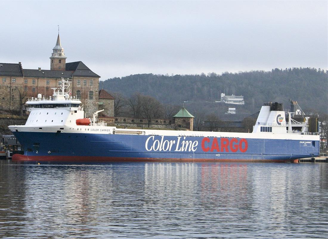 Fraktferjen Color Carrier har tatt en liten nyttårspause og ligger ved Akershus Festning i påvente av neste tur til Kiel.