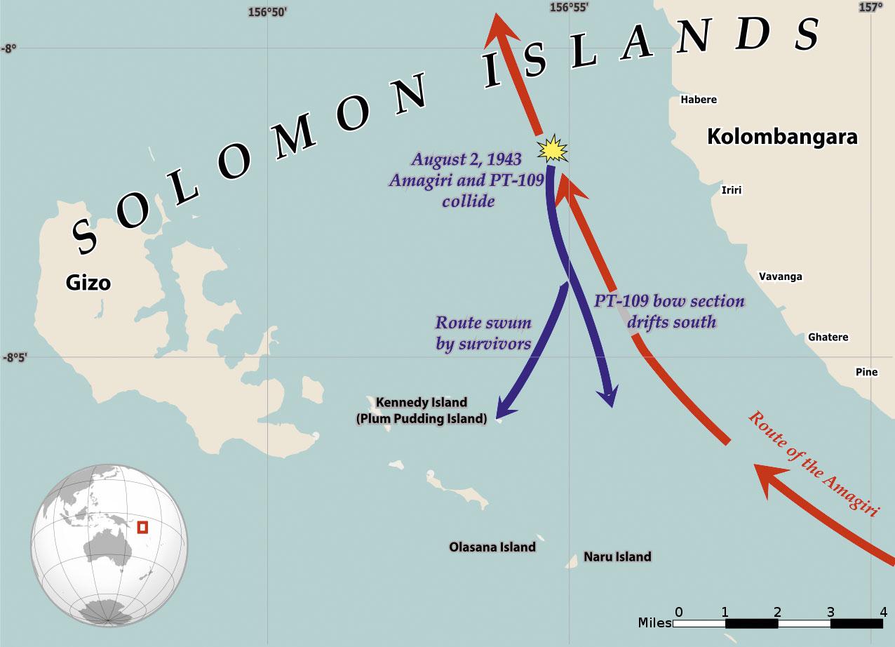 Kart som viser kollisjonen mellom PT 109 og Amagiri. Kart: Wikimedia Commons