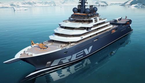 Slik skal skipet se ut når det står ferdig til første seilas i mai 2021.Skipets design har Vard utviklet i samarbeid med den norske yachtdesigneren Espen Øino. Ill: Rev Ocean