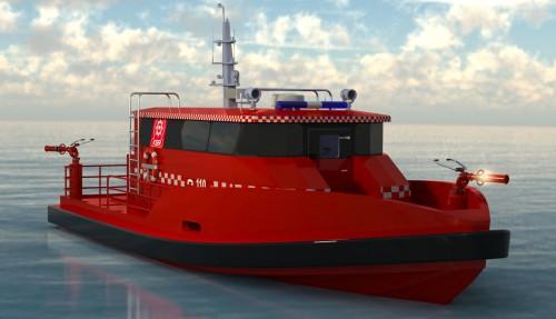 Den nye brannbåten er av typen Mare DC 14 Fire Fighter.