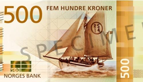 Redningsskøyra Stavanger blir motiv på 500-kroneseddelen. Illustrasjon: Norges Bank.