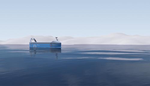 Driftsstart er planlagt til andre halvdel av 2018. Skipet skal frakte produkter fra Yaras fabrikk i Porsgrunn til Brevik og Larvik. Illustrasjon: Kongsberg