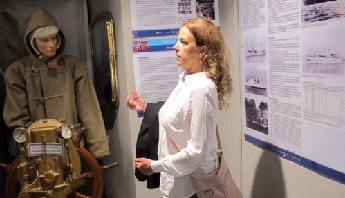 Tania von der Lippe Michelet under åpninga av den nye utstillinga på Marinemuseet i Horten. Foto: Roald Evensen.