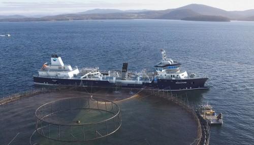 Ingen andre skip i verden har så stort anlegg for produksjon av ferskvann som det Ronja Storm får. Hvert døgn kan båten produsere 16, 8 millioner liter ferskvann. Båten kan dermed dekke døgnforbruket av ferskvann til 100.000 gjennomsnittsnordmenn. Illustrasjon: Havyard