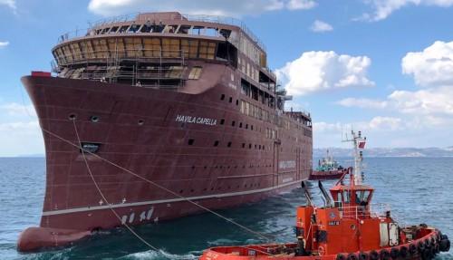 One of the four new cruise ships, Havila Capella, at Tersan Yard in Turkey. Photo: Tersan.