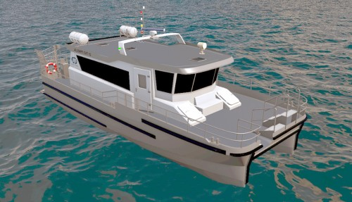 Båten er utrustet med diesel fremdrift og propeller. Illustrasjon: Maritimt Partner.