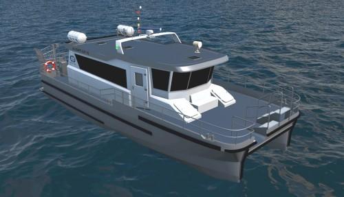 Den nye modellen fyller ett gap i markedet da det er veldig få nyutviklede passasjerbåter av denne størrelsen. Illustrasjon: Maritime Partner.