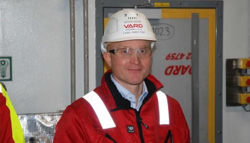 Verfts-sjef Fredrik Hessen er stolt over at Vard Brattvåg fikk byggejobben. –Det er grunn til å rette skryt til alle de dyktige verftsarbeiderne våre, og de flinke underleverandørene som har bidratt, kommenterte han. Foto: Kurt W. Vadset