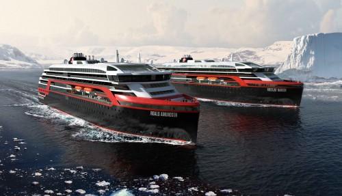 De to hybridskipene bygges hos Kleven i Ulsteinvik. Illustrasjon: Hurtigruten