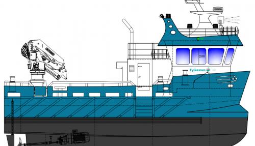 Fylkesnes Fisk har kontrahert et 15 meter katamaran med aluminiumskrog og hybrid fremdrift. Illustrasjon: Sletta Verft.