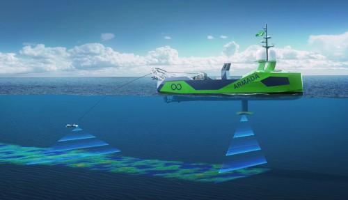Slik skal de førerløse fartøyene jobbe i forbindelse med bunnkartlegging og undervannsinspeksjoner. Illustrasjon: Ocean Infinity Group
