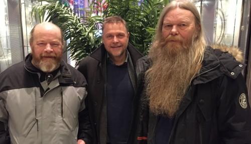 Fra venstre: Bjørn Erik Kristoffersen (Norsk Sjømannsforbund), Tor Arne Borge (Kystrederiene) og Geir Hagerupsen (Norsk Sjømannsforbund). Pressefoto