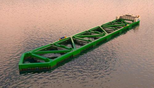 Nordlaks' Havfarm er med sine 385 meter, lengre enn de største supertankerne som er i drift i dag. Brødrene Dahl skal levere komplett ventilpakke til fartøyet. Illustrasjon: NSK Ship Design