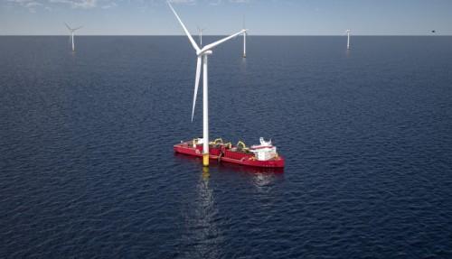 Fartøyet skal primært tene den aukande etterspurnaden i amerikansk havvind. Illustrasjon: Ulstein.