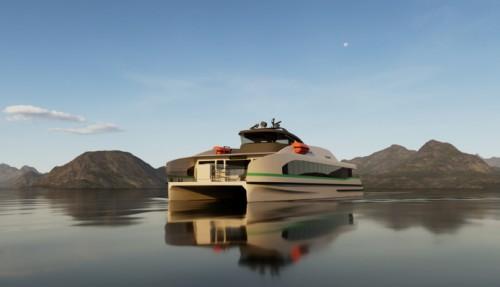 Katamaranen har plass til ca. 150 passasjerer, og blir 31 meter lang og 9 meter bred. Illustrasjon: NCE Maritime CleanTech