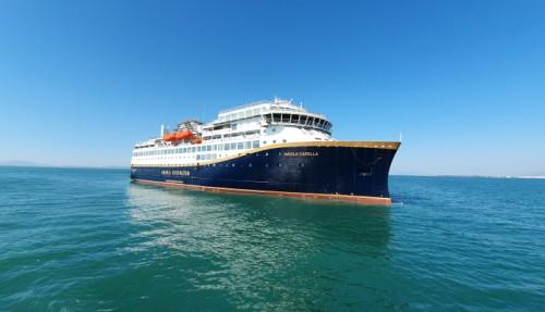 Havila Capella er det første skipet som skal leveres fra verftet Tersan i Tyrkia, og kommer i trafikk i høst.