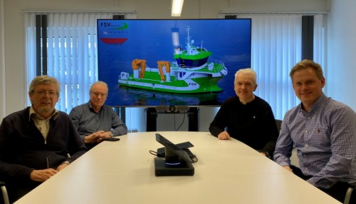 Fra venstre: Kåre Sletta (Daglig leder Sletta Verft), Lars Liabø (Styreformann Sletta Verft), Per Olav Myrstad (Styreformann FSV Group) og Arild Aasmyr (CEO i FSV Group). Foto: FSV Group.