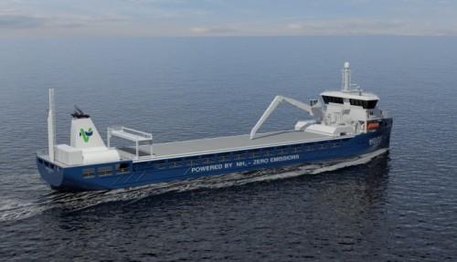 3D skisser fra siden - Illustrasjon: Kongsberg Maritime/Viridis Bulk Carriers