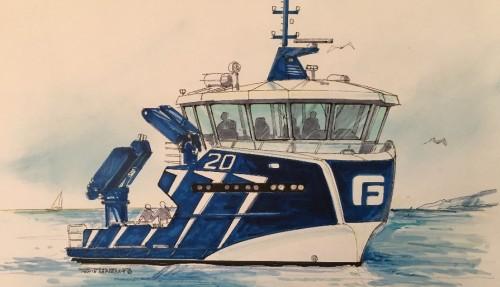 Sletta Verft bygger også et 19,9 meters servicefartøy for Frøygruppen. Fartøyet bygges i stål og får dieselelektrisk fremdrift. Båten skal operere i spotmarkedet når den blir levert i mars 2020. Ill: Sletta Verft