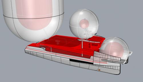 Risk assessment of hazardous zones on open deck with bio-methanol as a fuel. The inner spheres indicate a considerable chance that a flammable substance is ever present. The outer sphere indicates very exceptional chance. The aft mast is the outlet of the tanks and the foremast contains the inlets of them. The sphere on the foredeck is the bunkering station. Illustrtion:  Conoship International.