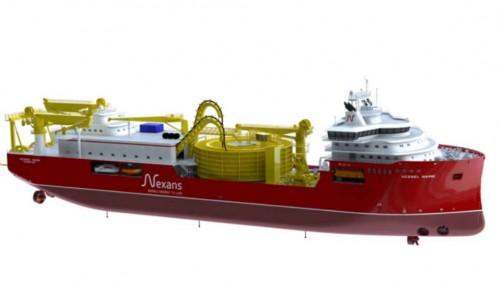 Kabelleggeren blir nesten 150 meter lang, og dermed et av de største skipene fra Ulstein Verft. Illustrasjon: Skipsteknisk