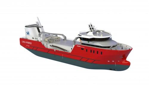 Rolls-Royce skal også levere gassmotorer, Promas-propellsystem og DP til en brønnbåt Nordlaks får bygd i sammenheng med havfarmen. Illustrasjon: Nordlaks/NSK Ship Design
