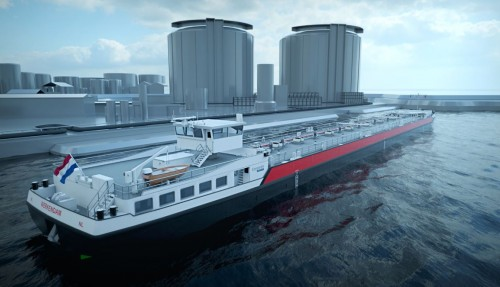 Concordia Damen has signed a contract for 40 eco-friendly dual fuel barges with institutional investors advised by J.P. Morgan Asset Management. Illustration: Concordia Damen