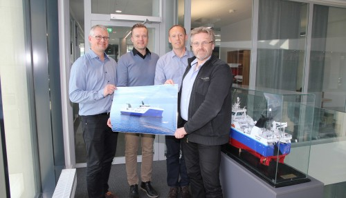 Fra venstre: Agnar Juvik (Vard), Torgeir Folland (Vard), Webjørn Barstad (Havfisk) og Stein Oksnes (Havfisk). Foto: Vard