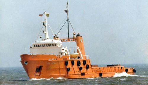 Rig Pilot det aller første forsyningsskipet som blei bygt i Norge. (Foto: Familien Arne Aarvik)
