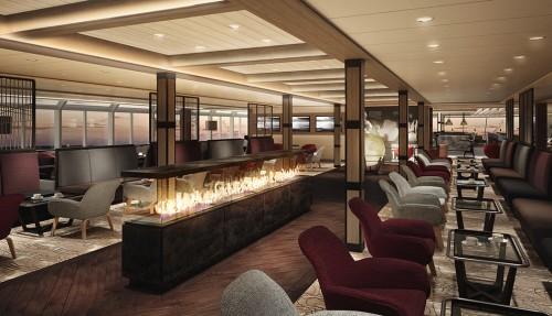 Explorer Lounge om bord nye Roald Amundsen. Ill: Hurtigruten