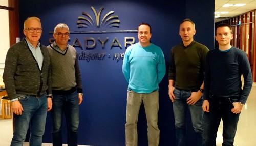 Fra venstre: Agnar Lyng (Stadyard), Egil Sørheim (Selfjordbuen), Rune Stian Nybakk (Seacon), Roger Larsen (Selfjordbuen) og Christian Sørheim (Selfjordbuen). Foto: Stadyard