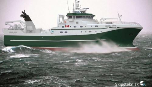 Denne hekktråleren til kanadiske Ocean Choice International er designet av Skipsteknisk og skal bygges av Tersan i Tyrkia. Illustrasjon: Skipsteknisk