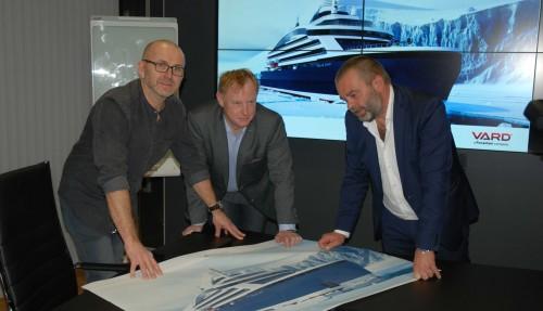 Senior Naval Architect Torkild Skjong, VP Sales&Marketing Stig Kile Gjelsten og Executive VP Sales&Marketing Magne Håberg. Foto: Kurt W. Vadset