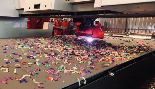 Stålkuttingen er i gang på det som skal bli verdens første autonome containerskip. Foto: Yara