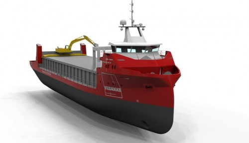 De planlagte skipene vil bli på 3000 dvt. Illustrasjon: Veidekke / GSP