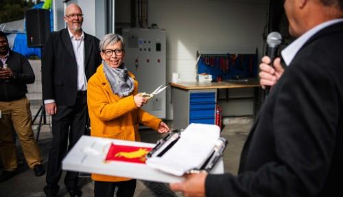 Ordfører i Moss, Hanne Tollerud, åpnet det nye anlegget. Foto: Wärtilä