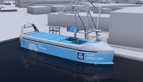 Kandidat: Yara Birkeland er under bygging ved Vard Brattvåg, og kan bli Ship of The Year 2020. Illustrasjon: Yara/Kongsberg/Marin Teknikk