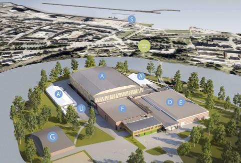 Arrangørens oversiktstegning over messeområdene med haller og telt, i tillegg til et område på Skansen (merket som S).