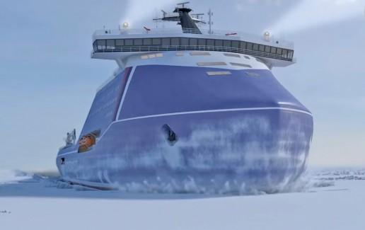Designskisse til det som skal bli Lider, verdens kraftigste atomisbryter. Illustrasjon Rosatomflot