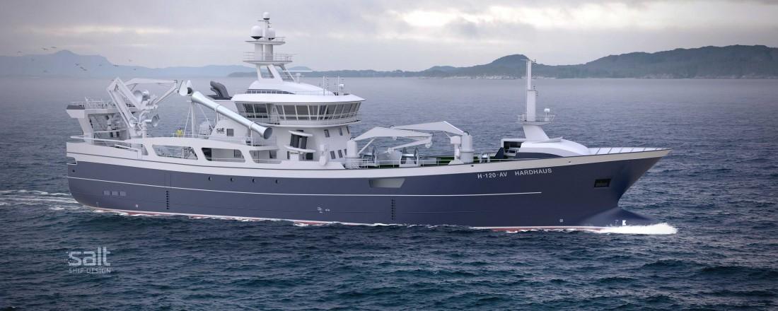 Salt Ship Design og reiarlaget Hardhaus har jobba tett saman om den nye trålaren. Illustrasjonsbilde: Salt Ship Design