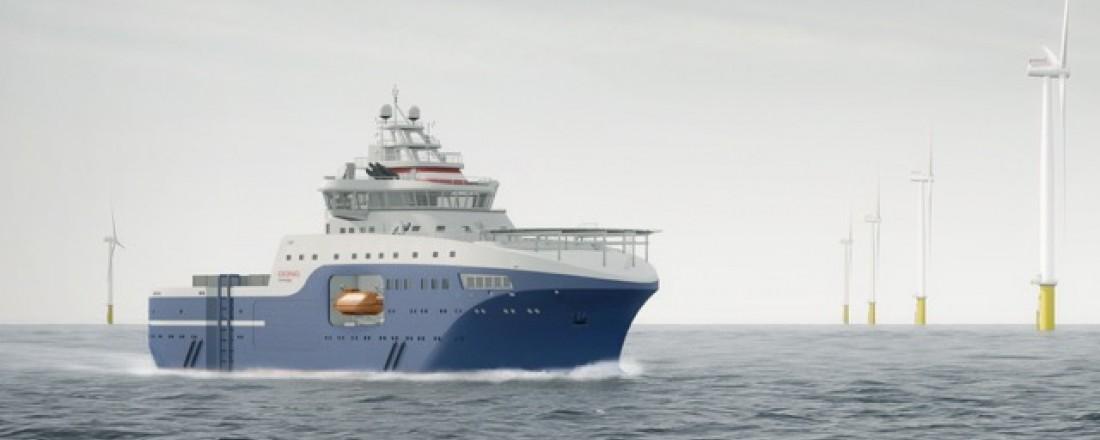 Salt designer franske Louis Dreyfus Armateurs sitt nye vindparkfartøy. Illustrasjon: Salt Ship Design