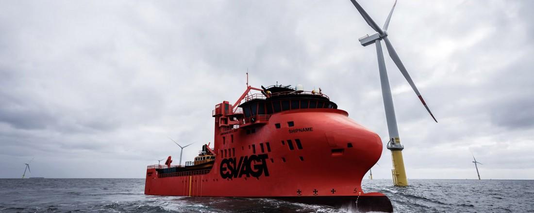 Vindmølleskipene til Esvagt får Havyards 831 L SOV-design. Ill: BowVision/Havyard