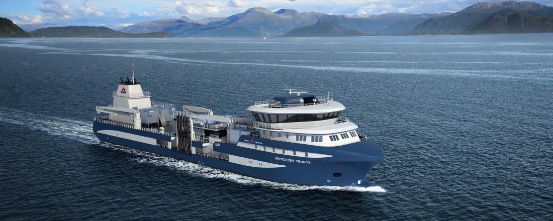 Alsaker Fjordbruk har bestilt ny brønnbåt fra spansk verft. Illustrasjon: Salt Ship Design