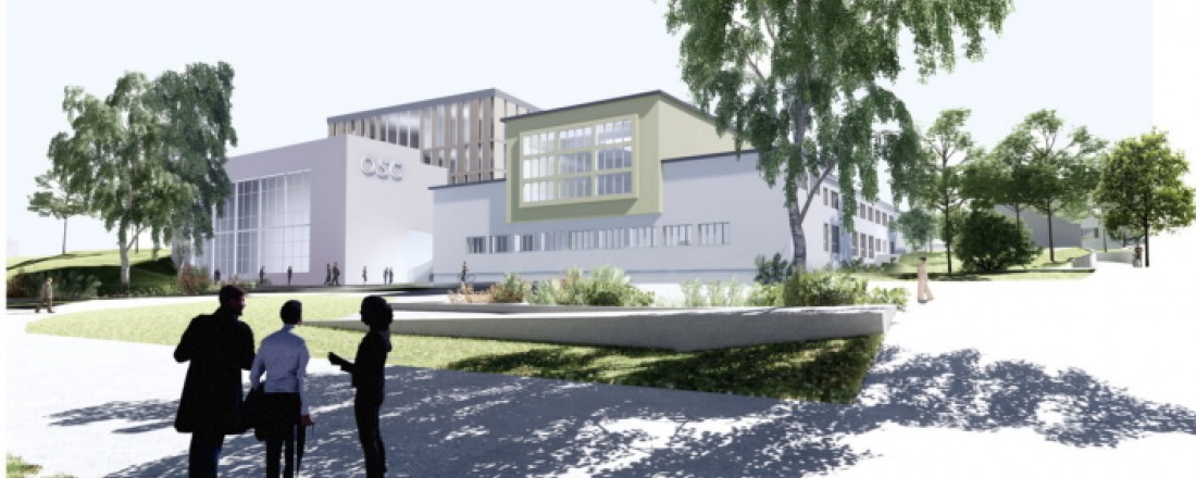 Arkitektfirmaet Snøhettas skisse av hvordan inngangspartiet til det nye Ocean Space Centre kan bli. Regjeringen har nå lover 6.9 milliarder til prosjektet. Illustrasjon: Snøhetta.