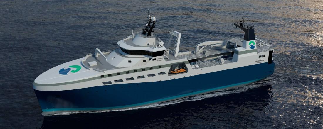 Rederiet Arctic Storms nye 100 meter langer tråler av NVC 336 WP-design fra Rolls-Royce Marine.