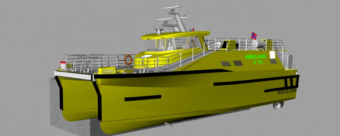 Illustrasjon av den nye ambulansebåten: Lindstøl Skip/Maritime Partner