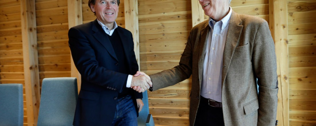 Konsernsjef i Kleven Ståle Rasmussen og adm. dir. Johan Rokstad i Østensjø Rederi