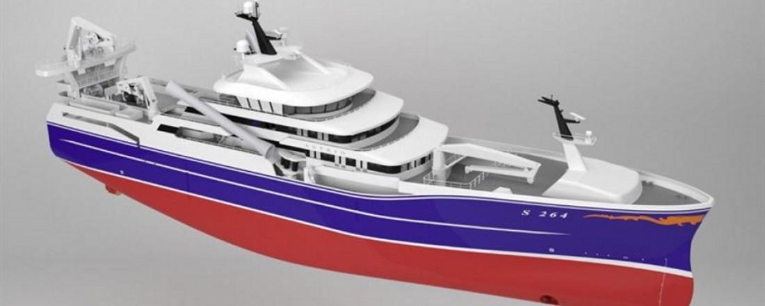 Det nye skipet får vinsjer fra Kongsberg Maritime i Brattvåg. Illustrasjon; Kongsberg Mariime.