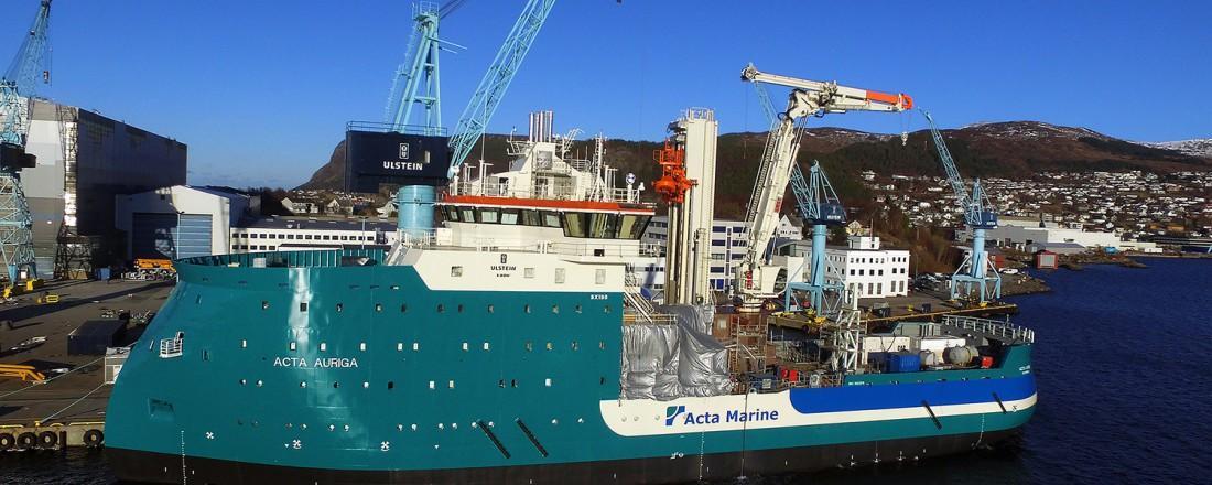 Skipsbygging ved Ulstein Verft: Havvindskipet Acta Auriga er for tida under bygging ved Ulstein Verft. Foto Ulstein Group